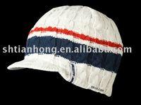 hand knit hat peak hat