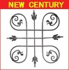 decorative wrought iron rose flower panel / wrought steel fence gate components and parts