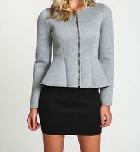 2014 Autumn Wholesale Collarless Long Sleeve Gathered Waist Peplum Jacket Elegant Woman Jacket Ladies Outerwear Fashion Suit
