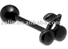 Black Cherry Anodized Barbell tongue jewelry,tongue piercing jewelry,316l body jewelry