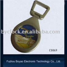 fashion mini metal desk clock keychain