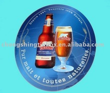 round tin plate with beer picture