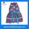 Elegant Purple With Bright Blue Ribbon White Snowflake Knitting Patterns For Dog Clothes