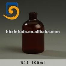 B11 amber plastic pharmaceutical bottle for antibiotics 100ml