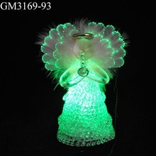 Wholesale led light fiber optic angel wings christmas ornament