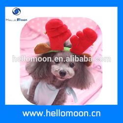 Christmas Rose And Brown Cute Reindeer Antlers Dog Hat