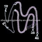 Fashion colored three rows diamante bra straps