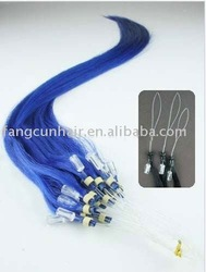 colored amazing blue micro links hair extensions/shed free tangle free