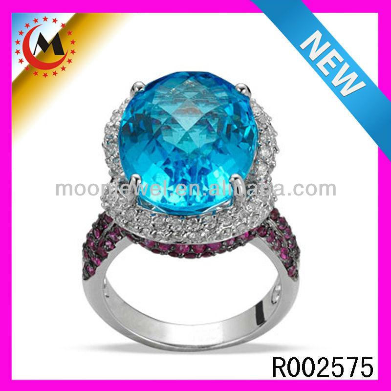 mode bague de mariage avec pierre bleue turque