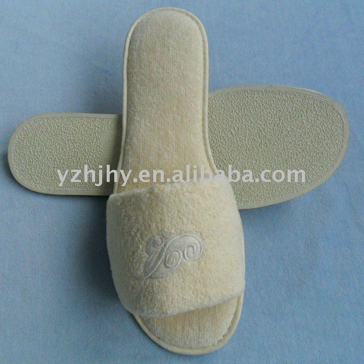 men velvet hotel slipper with anti-slip rubber sole