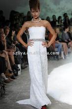 New Spring Stunning Lace Floor Length Sash Sequins Beaded Bride Wedding Dress