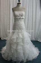 fashion appliqud Lace and ruffle organza latest bridal dresses 2012