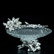 2012 ART crystal glass fruit plate with shining diamond