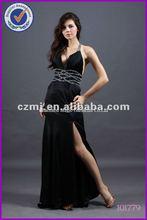 2012 New Sexy Dress Sexy Side Slit Black Evening Dress Open Back Prom Dresses