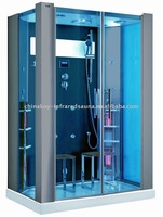 Luxury blue tempered glass sauna steam room