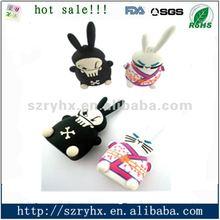 soft 3d rabbit silicone/ PVC usb stick memory stick