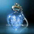 de cristal de la luz led en forma de corazón llavero con 3d grabado láser de la foto
