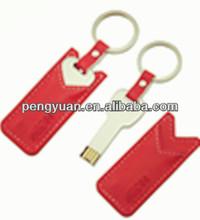 hot sale factory price OEM promotional gift metal key usb, leather keychain key usb flash drive,usb key with your logo