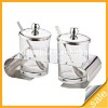 3pcs transparent glass salt and sugar holders with metal rack