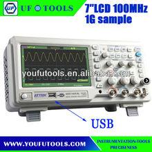 "Atten ADS1102CAL 100Mhz Digital Storage Oscilloscope 7"" Wide Screen LCD"