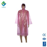 disposable plastic woman rain coat with hood