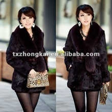 Factory direct whoesale price women rabbit fur coats with big fox collar