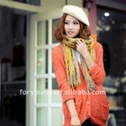 3D check design double layer knitted scarf