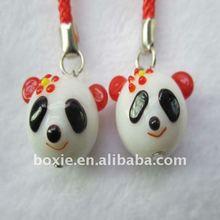 lampwork pet panda mobile pendant