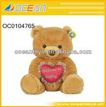 "2011 Hot Selling 14"" Plush Bear With Heart, Valentine Plush Toy (OC0104765)"