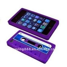 Cassette tape desgin silicone mobile phone case for iPhone 4