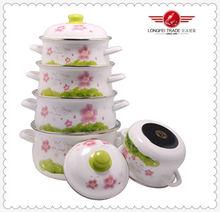 New Design Flower Decals 5 Piece Enamel Cookware