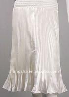 White Satin Frilled Pleated Comfort Skirt HSK8010
