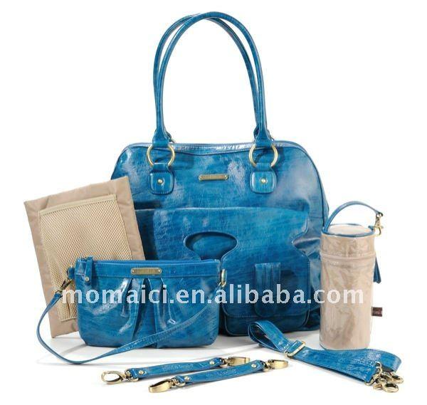 Blue designer PU changing bag