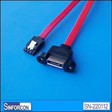Panel mout SATA cable, bulkhead eSATA extension cable