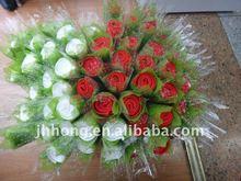 wedding decoration red rose bush artificial flower