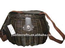Hand woven wicker fishing basket