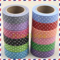 Japanese washi tape wholesale (decorative tape)- white dots in dark green