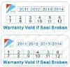 Date rectangel warranty stickers,frangible warranty stickers
