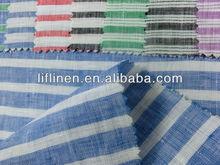 100% linen yarn dyed stripe fabric