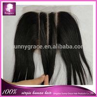 Stock closure in Straight Indian human hair 100% brazilian virgin human hair 3 part lace closure