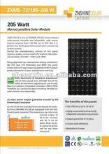 Znshine Mono-crystaline Solar Panel/PV Module Mono 180W 185W 190W 195W 200W 205W