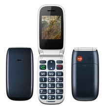 W72 2014 New big button dual sim unlock flip senior phone