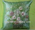 Floral broderie au ruban polyester- coussin de satin couvre la conception
