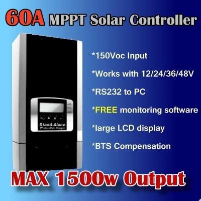 60a 12v 24v 48v 1500w regolatore di carica solare mppt regolatore di carica solare