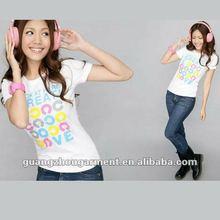Wholesale 100%cotton Fashion Letter print short sleeve white T-shirt