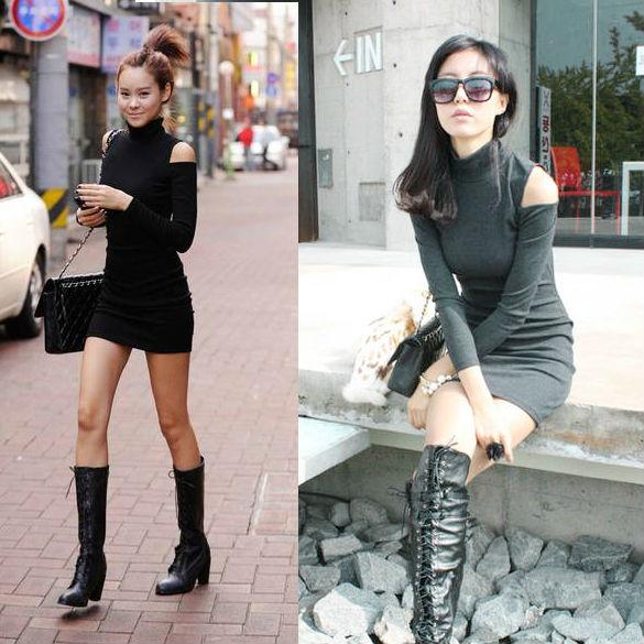 Women's Long Sleeve Sexy Cotton Casual Off Shoulder Mini Dress 3545