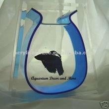 Blue acrylic betta bowl fish tank aquarium