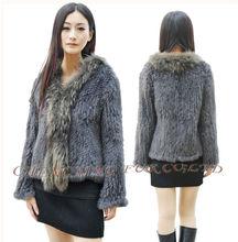 Cx-g-a-95 donne autentico coniglio cappotto di pelliccia lavorato a maglia