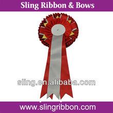 Red Polyester Award Ribbon Rosette