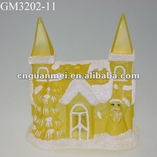 christmas snowing house with color changing led light